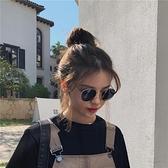港風復古黑色墨鏡女蹦迪眼鏡韓版潮女ins網紅圓框太陽鏡  喜迎新春