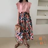 連身裙女夏季圓領寬鬆飛飛袖T恤 高腰單排扣花朵半身裙【橘社小鎮】