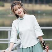 中國風改良式漢服 學生上衣民族風復古繡花襯衫唐裝茶服 入秋首選
