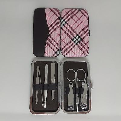 粉紅格紋按扣包七件式修容組/指甲剪/指甲刀