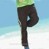 日本名牌 KAWASAKI 男女平織網裡運動長褲-黑綠#K218B