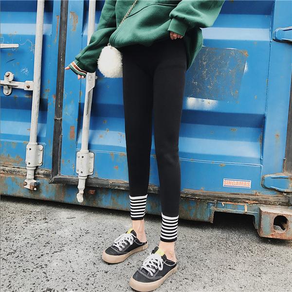 +H多條紋黑# 褲腳條紋字母螺紋拼接內搭褲運動褲子顯瘦緊身外穿打底褲女 &小咪的店&