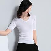 短袖針織衫-純色V領修身簡約女T恤2色73xi16【巴黎精品】