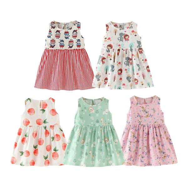 女童洋裝 夏日無袖滿印連身裙背心洋裝 滿版印花連衣裙 女童長板上衣 清涼洋裝 88652
