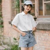 2020夏季新款港風純棉白色襯衫女韓版寬鬆短袖jk制服薄款上衣襯衣