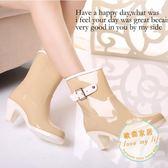 雨鞋韓版時尚高跟雨鞋女士側搭扣中筒雨靴大碼韓國膠鞋水鞋水靴特