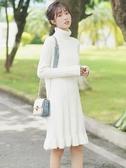 長裙洋裝新款秋冬高領針織連衣裙內搭打底中裙鉤花荷葉邊毛衣裙 新年禮物