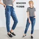 中大尺碼-顯瘦男友褲NEWLOVER牛仔時尚【161-6126】可反折綁帶刷痕S-2L