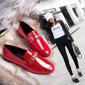 皮鞋歐美時尚婚鞋女紅色平底結婚鞋舒適透氣豆豆鞋黑色套腳小皮鞋 潮人女鞋