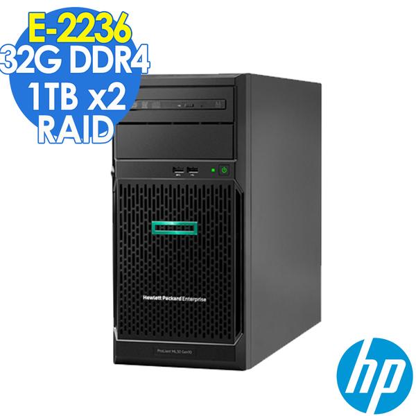 【現貨】HP ML30 Gen10 企業伺服器 E-2236/32GB/1TBX2/350W/RAID