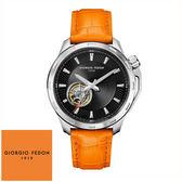 GIORGIO FEDON 1919 鏤空黑面經典橘色皮帶機械錶 GFCG001 42mm 公司貨 | 名人鐘錶高雄門市