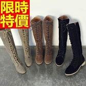 馬丁靴-新款磨砂皮圓頭高筒真皮女靴子3色65d83【巴黎精品】