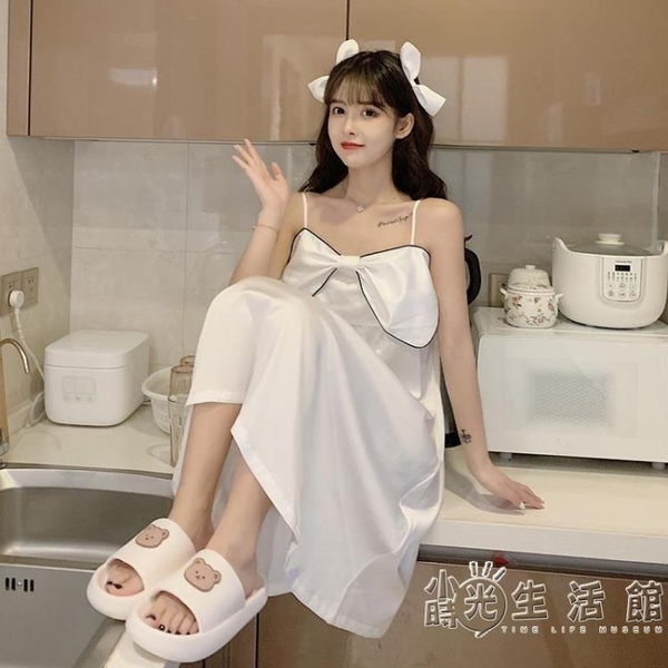 法式性感吊帶裙睡裙蝴蝶結公主風可愛睡衣女2021年新款夏季家居服 小時光生活館