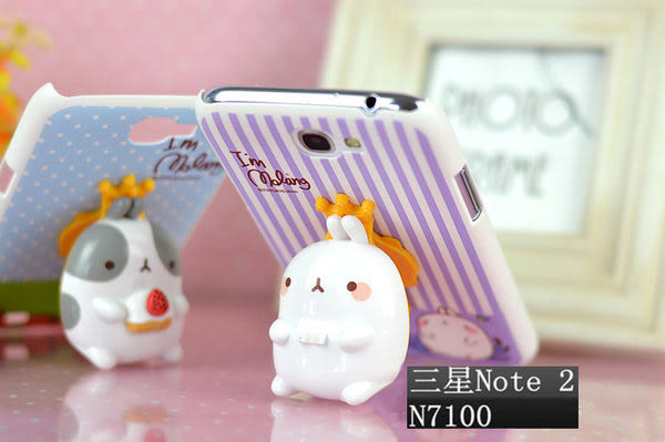note 2現貨免運 三星Samsung Galaxy note 2  背殼LOVE貓+土豆兔 手機套
