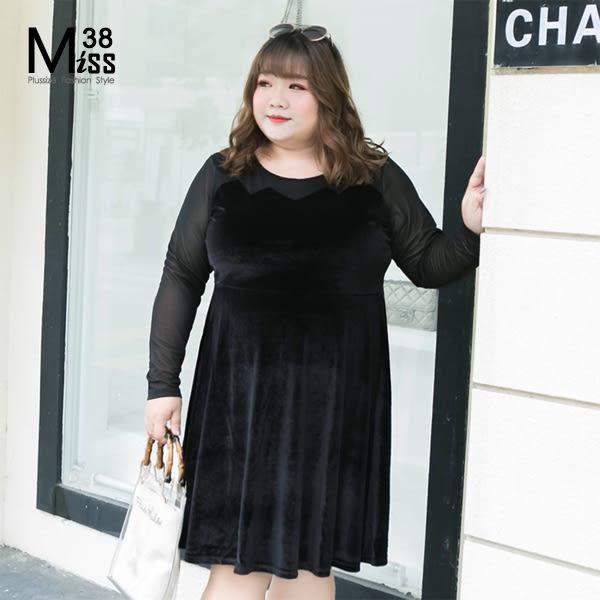 Miss38-(現貨)【A10626】性感黑 韓國絨拼接彈力網紗 長袖 大尺碼洋裝 連身裙 宴會小禮服-中大尺碼