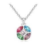 水晶項鍊+925純銀吊墜-愛的印記生日母親節禮物女飾品5色73bb190【時尚巴黎】