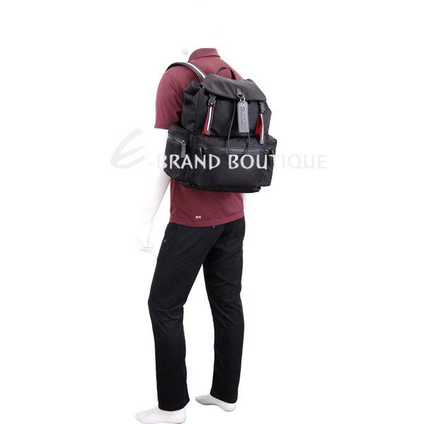 BALLY CREW 皮牌掛飾黑色尼龍後背包 1840241-01