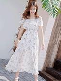 洋裝 露漏一字肩洋裝女夏天新品中長款正韓顯瘦流行超仙雪紡裙子