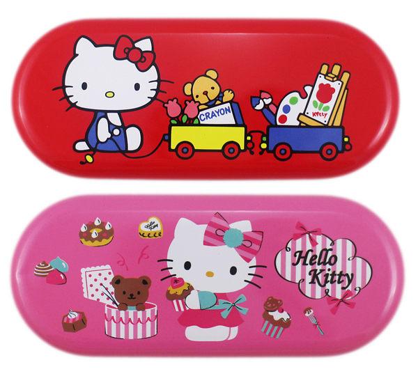 【卡漫城】 Hello Kitty 馬口鐵 萬用盒 剩 紅色 ㊣版 小物 收納 眼鏡盒 台灣製造 甜點 蛋糕 畫家