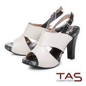 TAS 鏤空剪裁魚口高跟涼鞋–簡約白