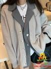 針織外套 大碼毛衣外套開衫女秋季新款韓版假兩件上衣【樂淘淘】
