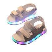涼鞋女童發光沙灘鞋兒童中小童軟底寶寶童鞋