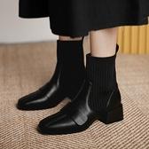 襪靴 2021年馬丁靴女秋冬新款潮ins瘦瘦靴彈力靴女短靴粗跟小方頭襪靴 韓國時尚週