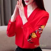 2020女裝雪紡衫長袖秋季打底衫新款韓版上衣刺繡T恤寬鬆氣質小衫「時尚彩虹屋」
