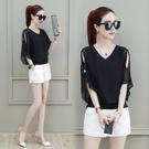 雪紡衫女夏2020年流行新款短袖夏裝上衣遮肚子蝙蝠衫高檔小衫洋氣