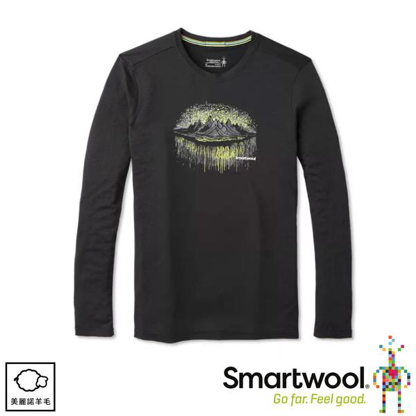 【SmartWool 美國 男 Merino Sport 150塗鴉長袖T恤《森林極光/黑色》】SW019021/圓領T恤