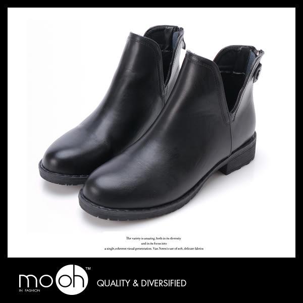 韓國V口顯瘦拉鏈踝靴 簡約時尚皮帶扣粗跟短靴機車靴 mo.oh (韓國鞋款)