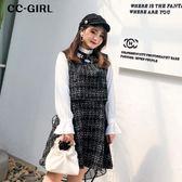 中大尺碼 假兩件學院風格紋長袖洋裝 - 適XL~4L《 67195H 》CC-GIRL