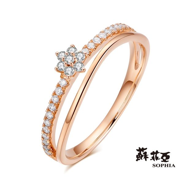 蘇菲亞SOPHIA - 知心鑽石玫瑰金線戒