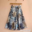 夏季民族風雪紡半身裙中裙A字大擺裙復古大碼過膝裙女印花短裙子 快意購物網