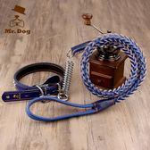中型大型犬狗狗牽引繩帶金毛拉布拉多牛皮項圈遛狗繩子狗錬子用品「摩登大道」
