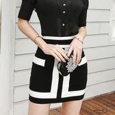 包臀裙 黑白半身裙夏裝半裙性感高腰包臀緊身短裙顯瘦時尚裙子