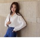 《AB13694-》純色高含棉簍空蕾絲長袖襯衫上衣 OB嚴選
