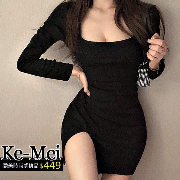 克妹Ke-Mei【ZT64702】SPICY辛辣龐克性感方領開叉連身洋裝