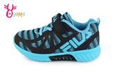 FILA 運動鞋 男童 反光系列 輕量慢跑鞋O7638#黑藍◆OSOME奧森鞋業