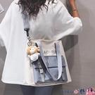 熱賣帆布包 大容量帆布包包女2021新款可愛日系單肩大包百搭學生上課斜背書包 coco