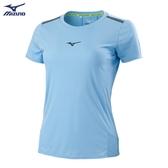 MIZUNO 女裝 短袖 T恤 吸汗快乾 透氣網布 兩肩反光織帶 水藍【運動世界】J2TA071121