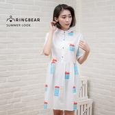 襯衫洋裝--純真少女風童趣房屋圖案立領開襟棉質襯衫連身裙(白XL-3L)-D423眼圈熊中大尺碼