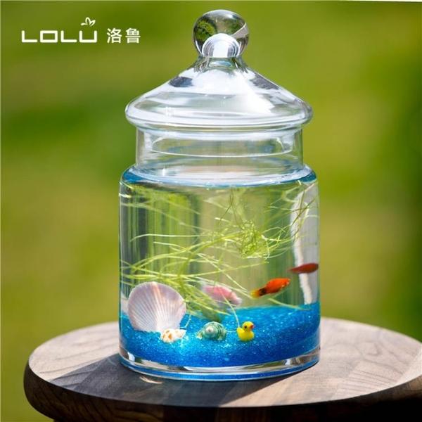 帶蓋玻璃魚缸金魚缸客廳小型懶人桌面水族箱斗魚缸烏龜缸魚缸造景