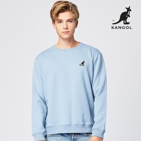 KANGOL 袋鼠 - 左胸刺繡小袋鼠大學T 湖水藍綠【60551034】