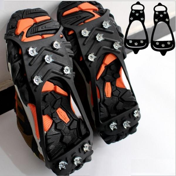 雪靴 8齒冰爪鞋套草地雪地防滑鞋套+贈收納袋 出國滑雪登山露營釣魚【AE10358】99愛買生活百貨