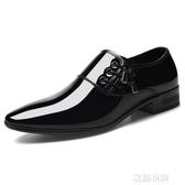 皮鞋男韓版2020春季新款青年黑色商務正裝休閒鞋尖頭英倫潮流鞋子『艾麗花園』