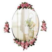 浴室鏡子 新款防水鏡 梳妝鏡 歐式鏡子 壁掛田園衛生間鏡子 圓 浴室鏡子純銀鏡