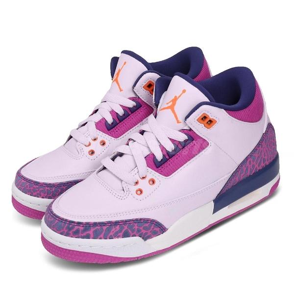 Nike Air Jordan 3 Retro GS Barely Grape 紫 橘 大童鞋 女鞋 爆裂紋 喬丹 3代 【ACS】 441140-500