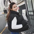 韓版寬鬆立領百搭短款秋冬裝黑色棉背心馬夾學生棉馬甲女士棉衣外套面包服 XL202【黑色妹妹】