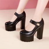 高跟鞋 韓版女鞋子 10cm模特訓練專用女大碼高跟魔術貼走秀單鞋女粗跟鞋《小師妹》sm5013